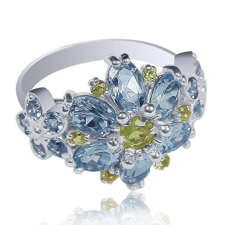 Золотое кольцо с топазом «Giardino in fiore»