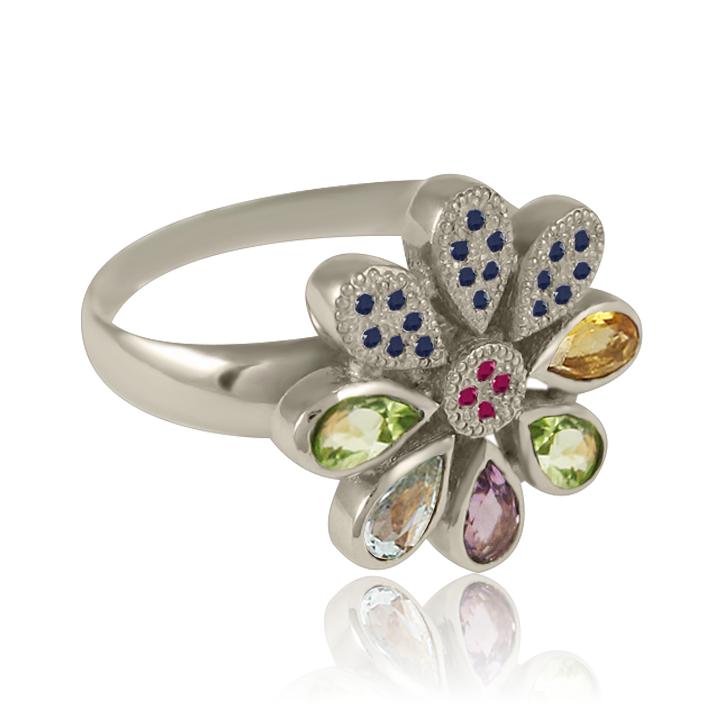 Золоте кільце з діамантами «Цветик-семицветик»