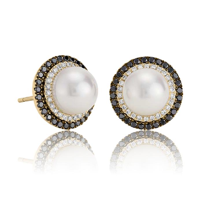 Золоті сережки з перлами «Night fairy»