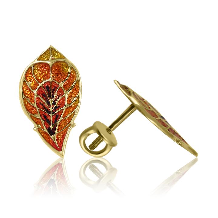 Золотые серьги с эмалью «Райские перья- I»
