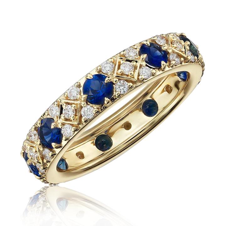 Эксклюзивное обручальное кольцо с бриллиантами и сапфирами