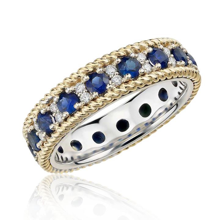 Свадебное кольцо с сапфиром эксклюзивное «Монако»