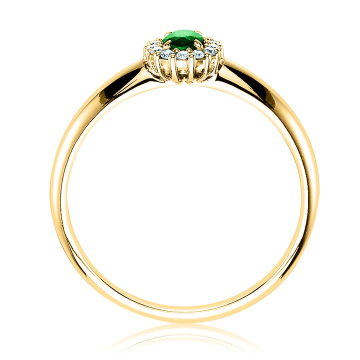 Помолвочное кольцо из золота изумруд