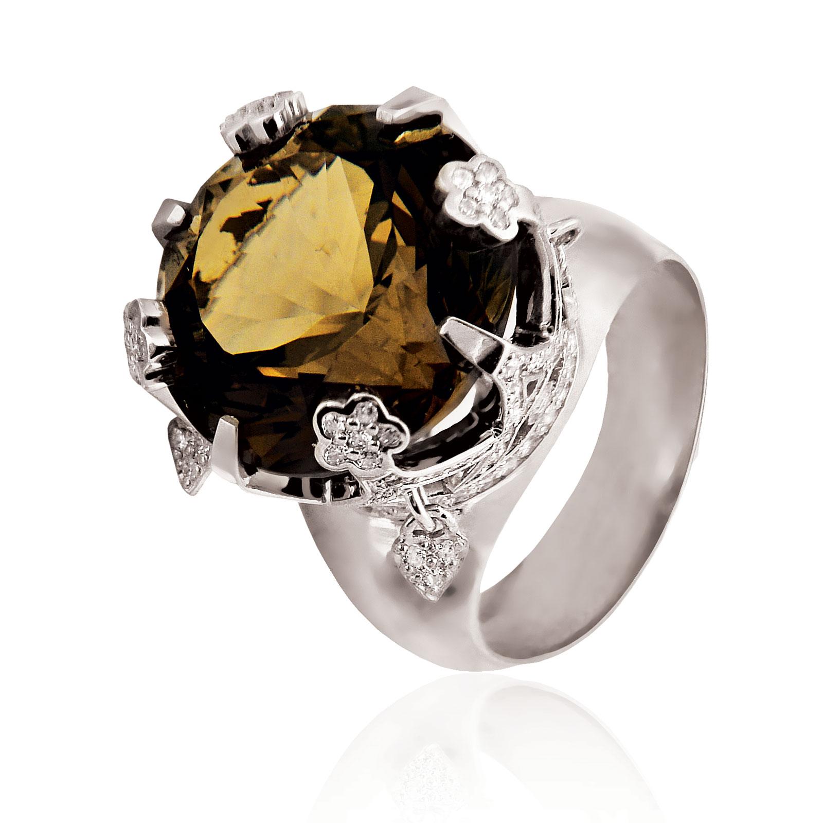 Золоте кільце з раухтопазом «Імператорська корона»