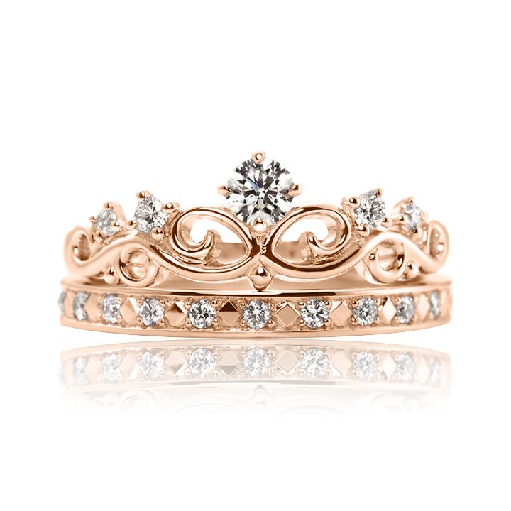 Золоте кільце подвійне з цирконієм «Корона»