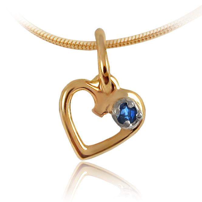 Золотий кулон з сапфіром «День Святого Валентина»