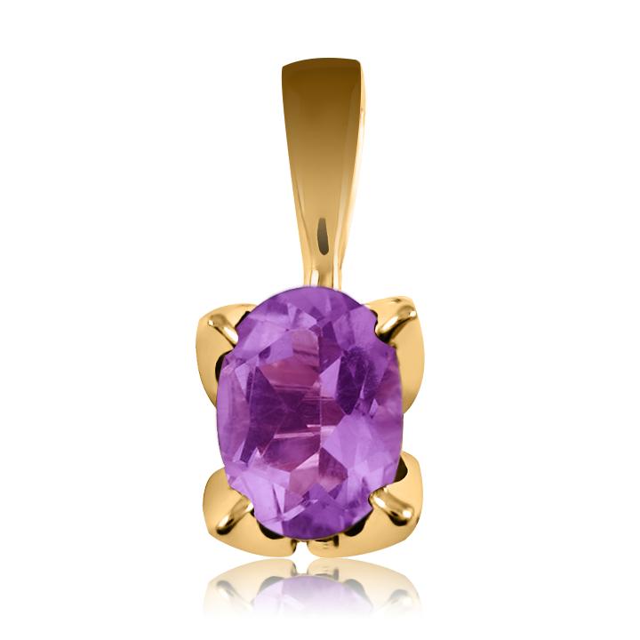Золотий кулон з фіолетовим аметистом «Zoya»