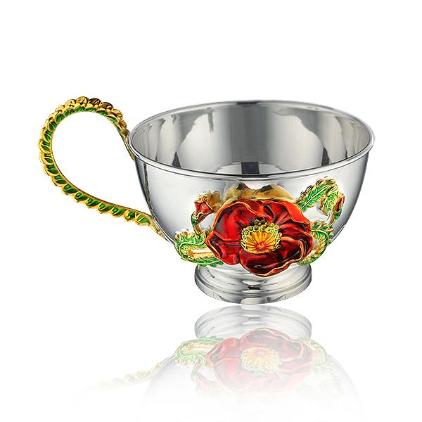 Серебряный чайный набор с эмалью «Маки»