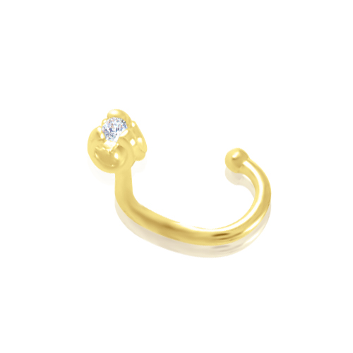Золотая сережка в нос «С любовью»