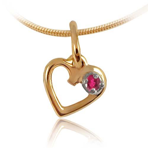 Золотий кулон з рубіном «День Святого Валентина»