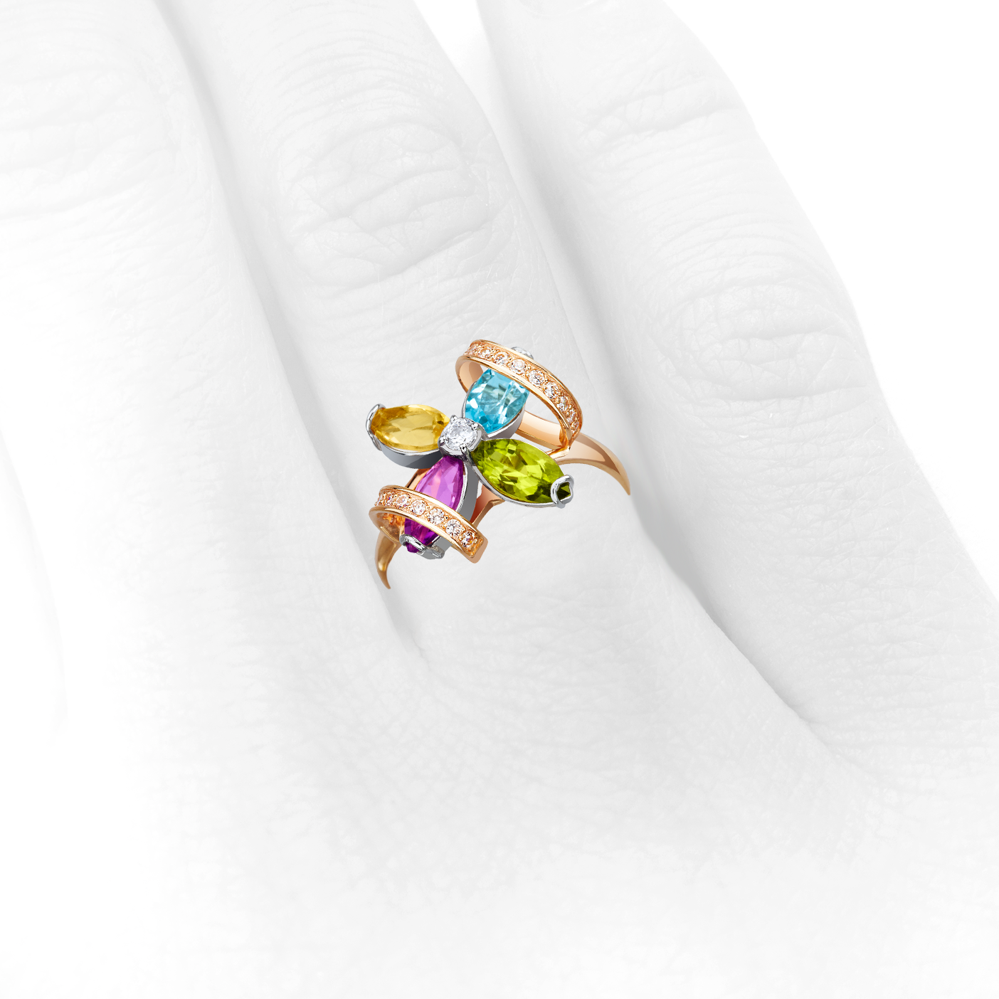 Золото кольцо с самоцветами «Илана»