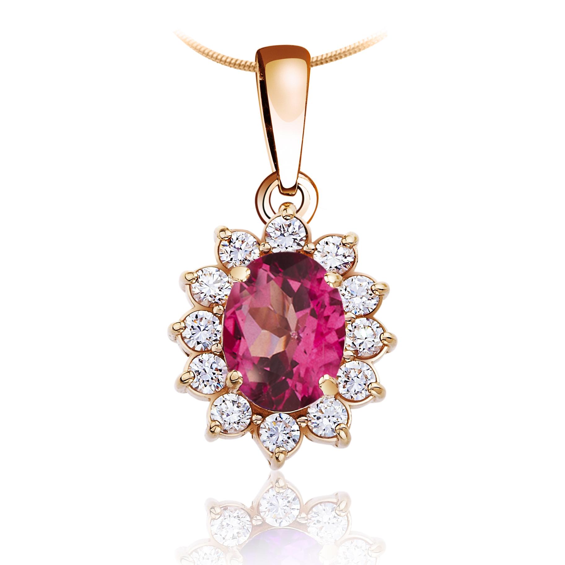 Золотой кулон с розовым топазом «Ажур»