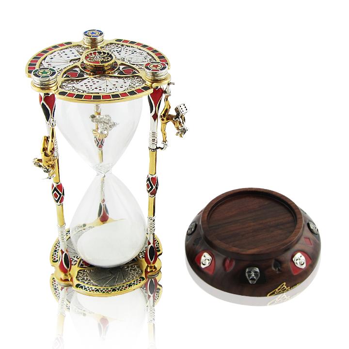 Срібний пісочний годинник з емаллю