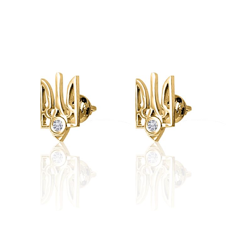Золотые серьги пусеты с бриллиантом