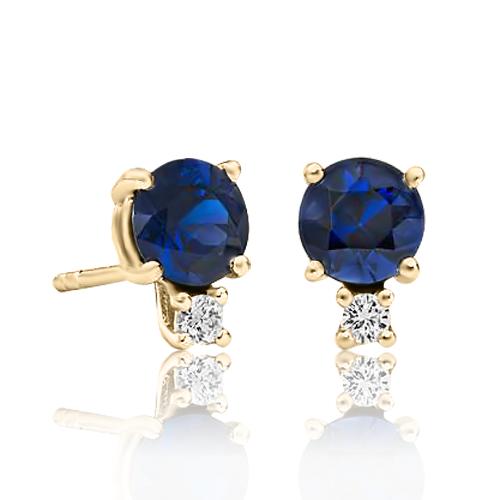 Золоті сережки з сапфіром і діамантом «Adeline»