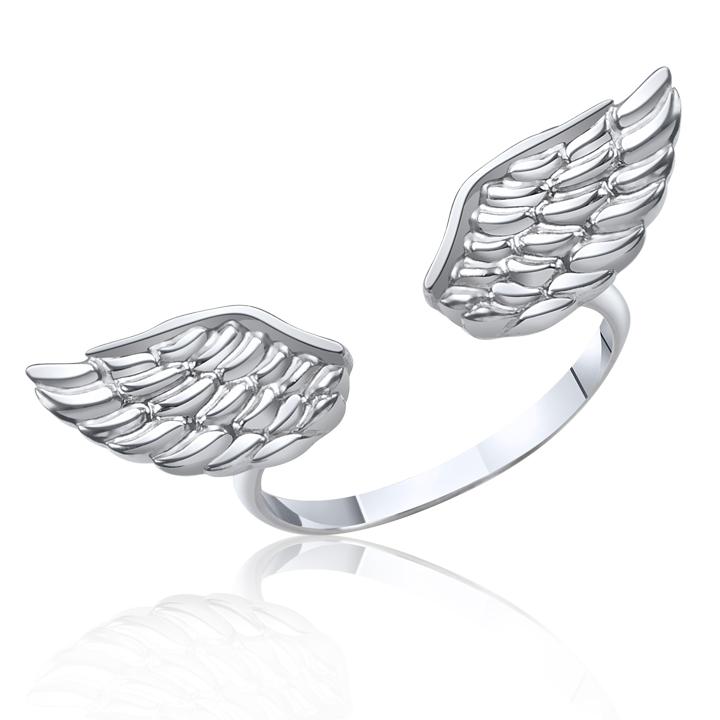 Кольцо крылья белое золото