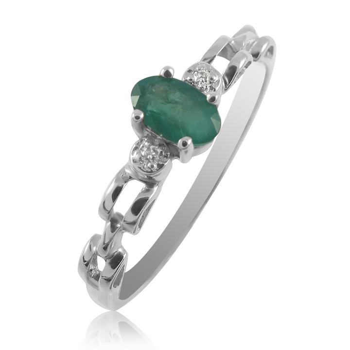 Золотое кольцо с изумрудом и бриллиантами «Vita»