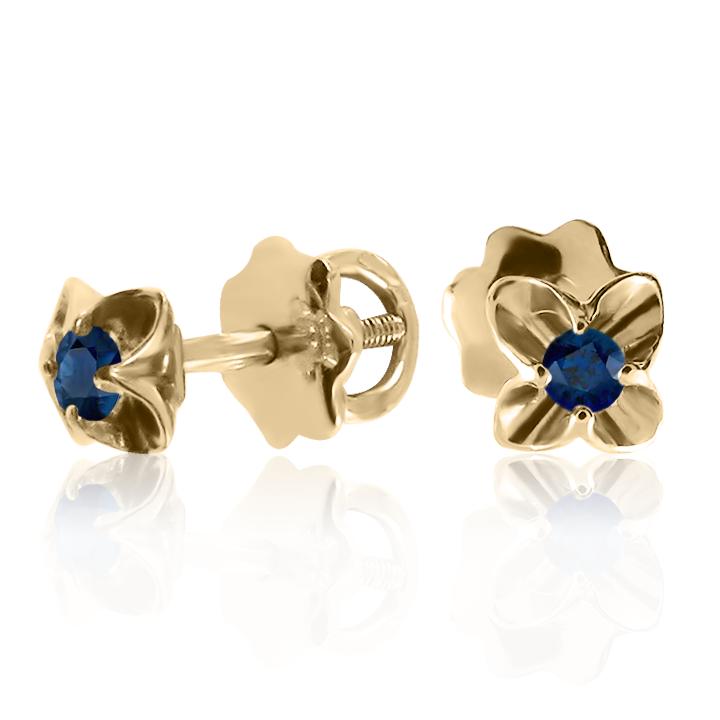 Сережки гвоздики з синіми сапфірами