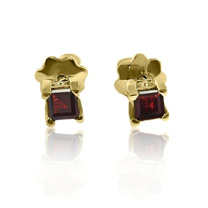 Золоті сережки з гранатами«Гармонія»