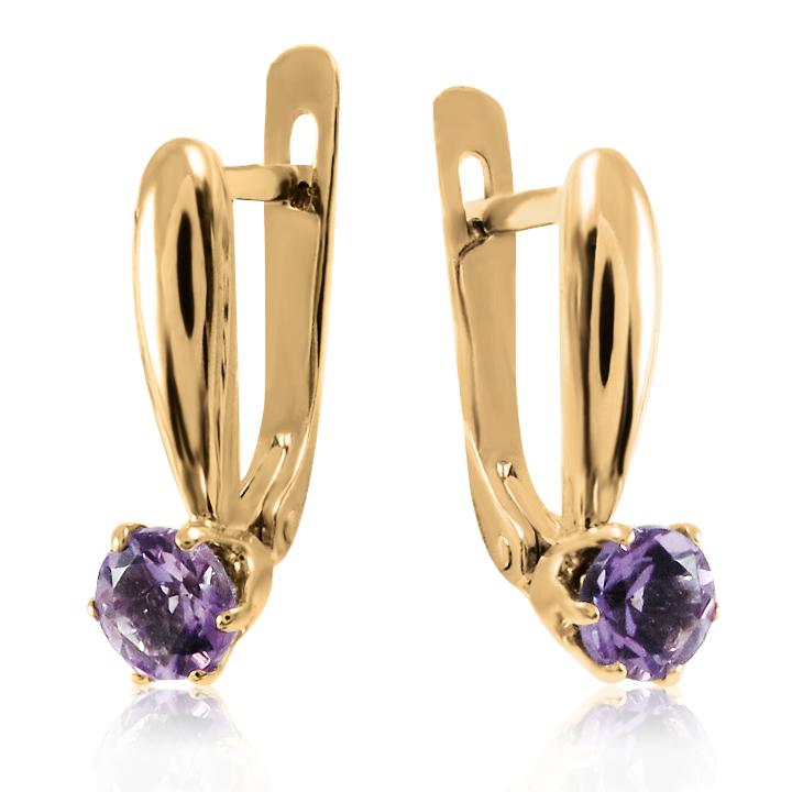 Золоті сережки з аметистом «Style»