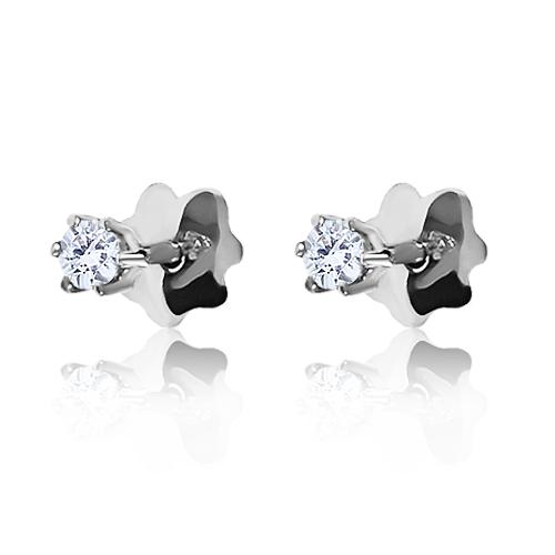 Золотые пусеты с бриллиантами 3 мм «Жажда любви»