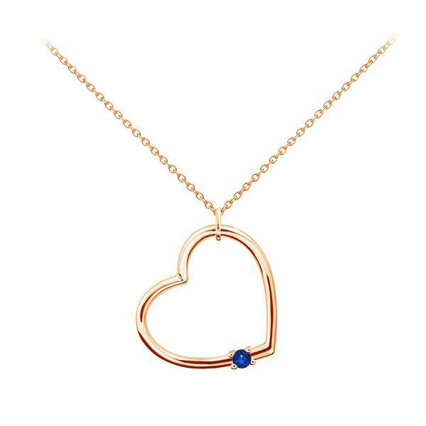Золотий кулон з сапфіром «Серце»