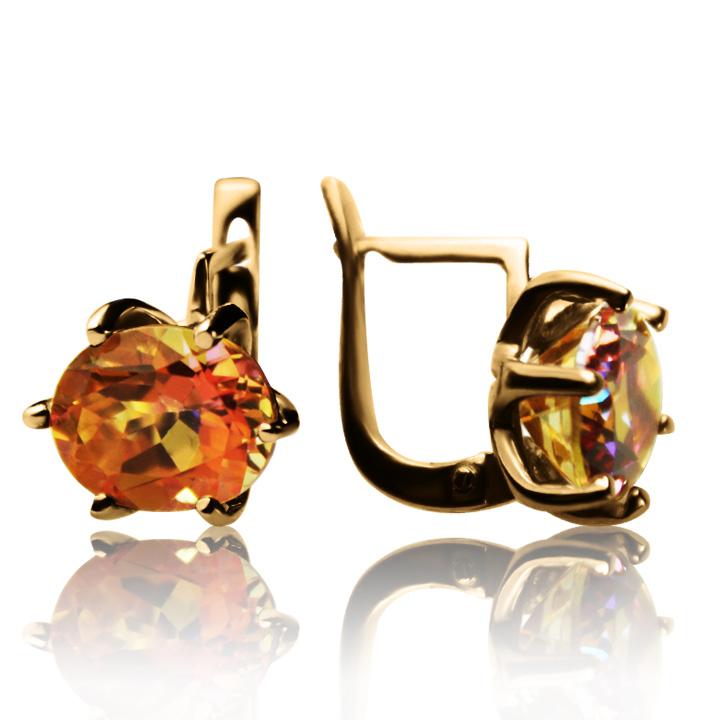 Золотые серьги с мистик топазом  «Мидея»