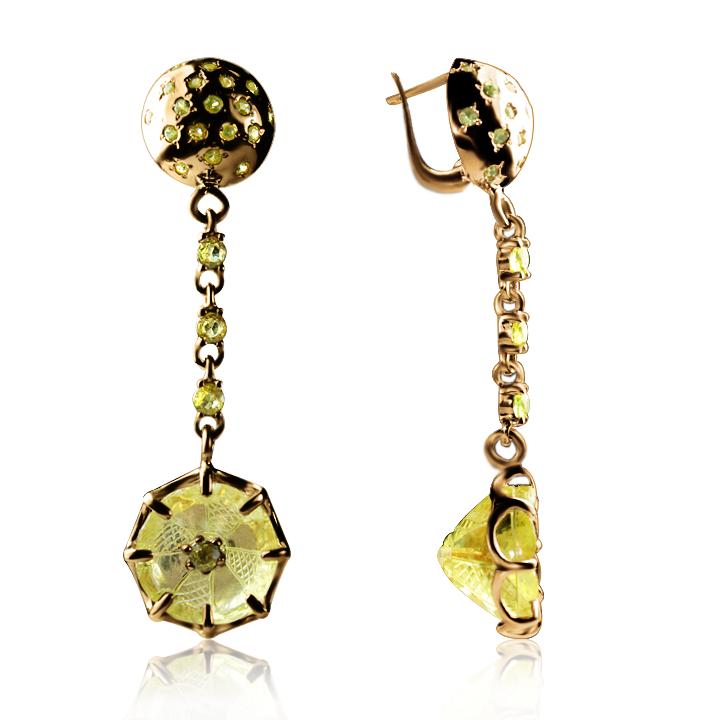 Золотые серьги с кварцем «Margaret»