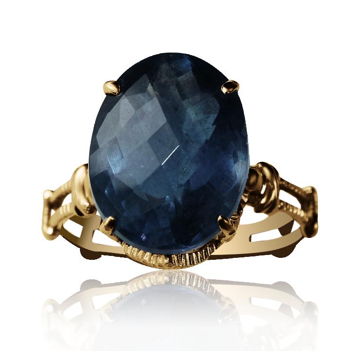 Золотое кольцо с флюоритом  «Medea»