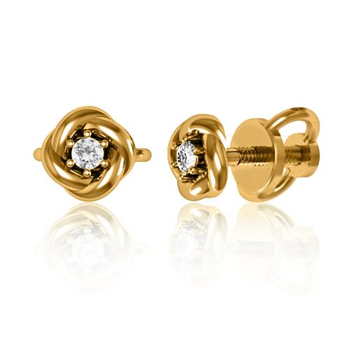Золотые серьги с бриллиантами «Sauvignon»