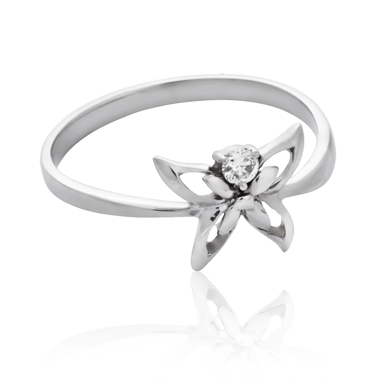 Золоте кільце з діамантом «Діамантовий метелик»