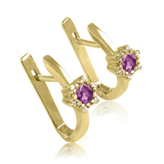 Золоті сережки з аметистами «Царівна Будур»