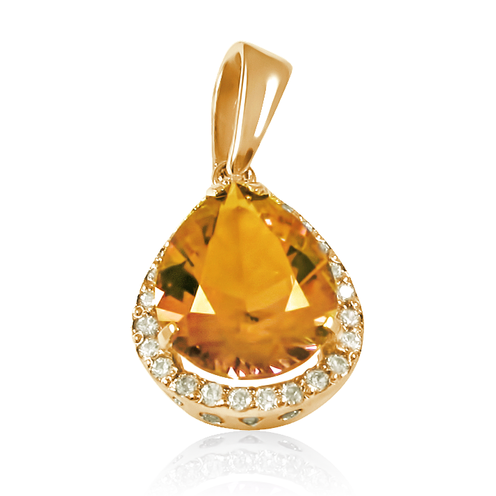 Золотий кулон з цитрином «Стихія»