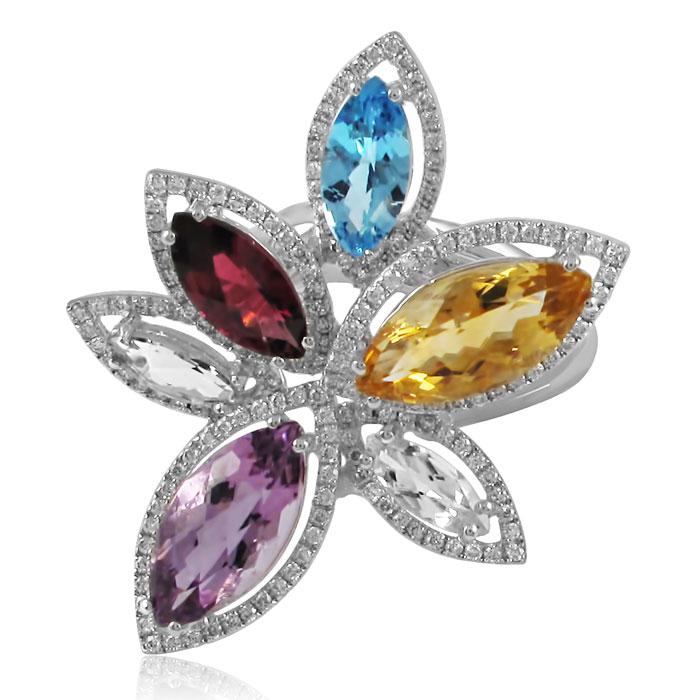 Золотое кольцо c камнями «Super Nature»