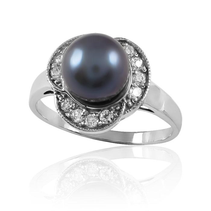 Золотое кольцо с жемчугом и цирконием «Марсельеза»