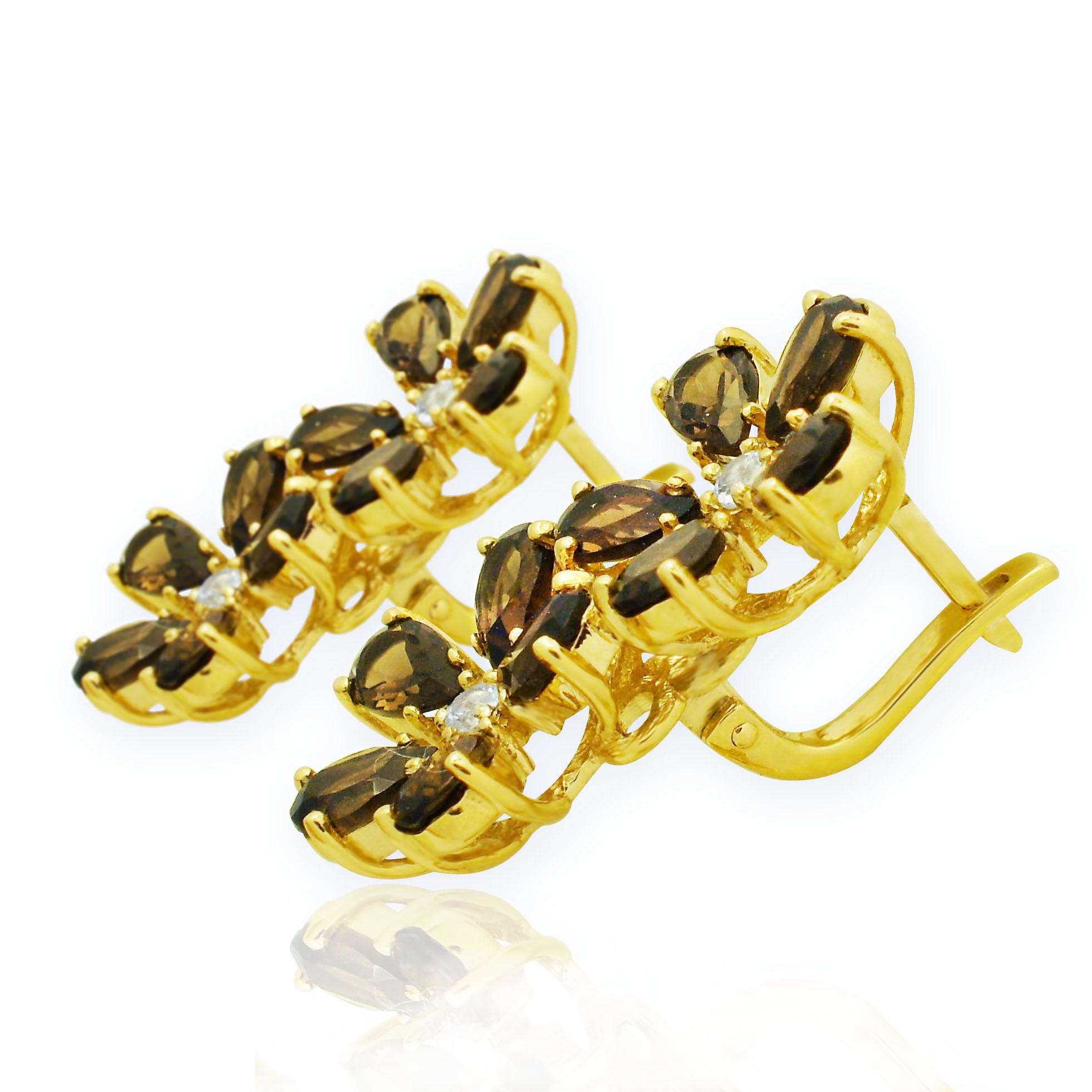 Золоті сережки з раухтопазом «Сан-Джорджо-Маджоре»