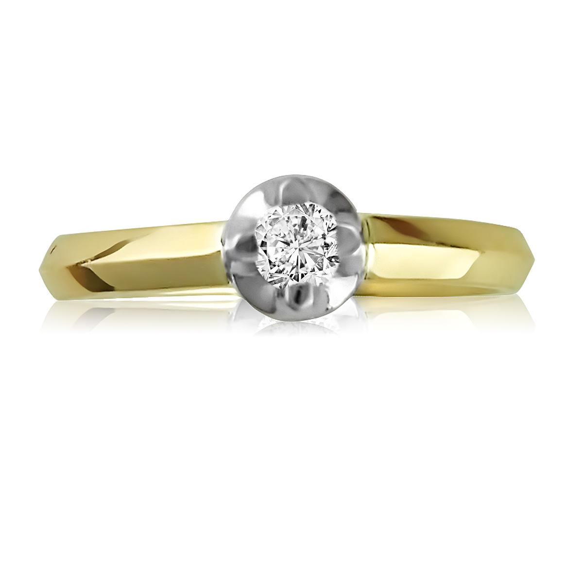 Золоте кольцо для заручин з цирконієм Сваровські «Софі»