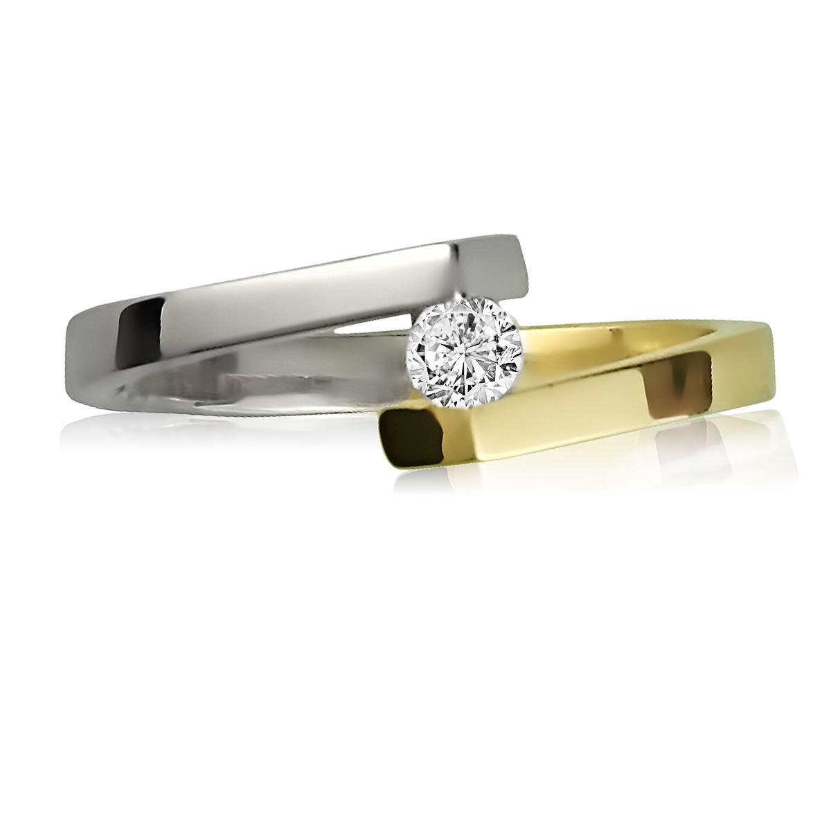 кольцо два цвета золота бриллиант