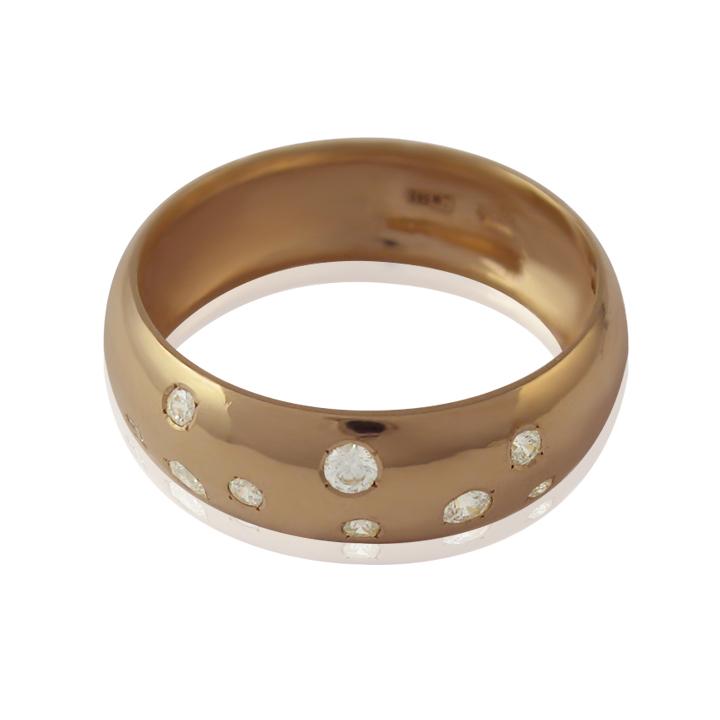 Золотое обручальное кольцо с цирконием