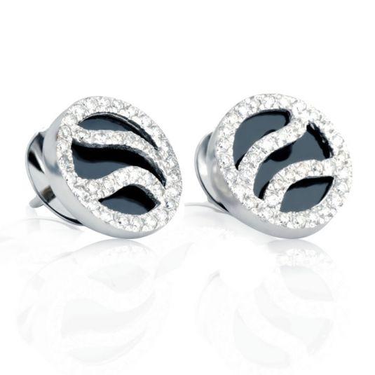 Золотые серьги бриллианты оникс