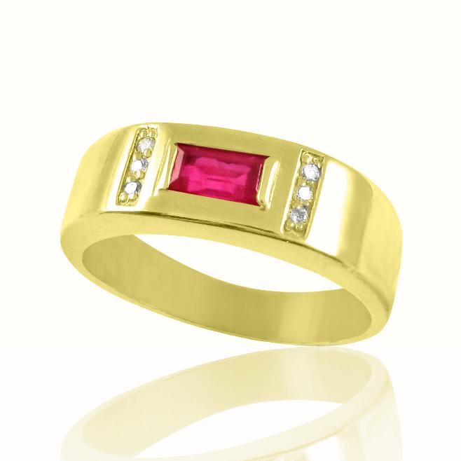 Золотий перстень рубіном