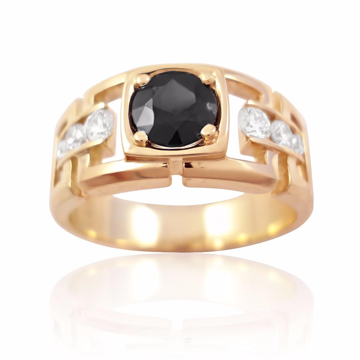 Золотой перстень чёрный бриллиант