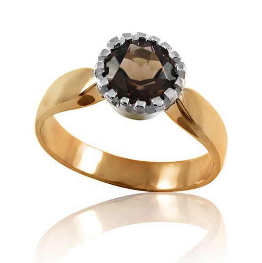 Золотое кольцо раухкварц