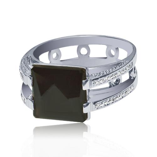 Золоте кільце з раухтопазом і діамантами «Фузар де Поллі»