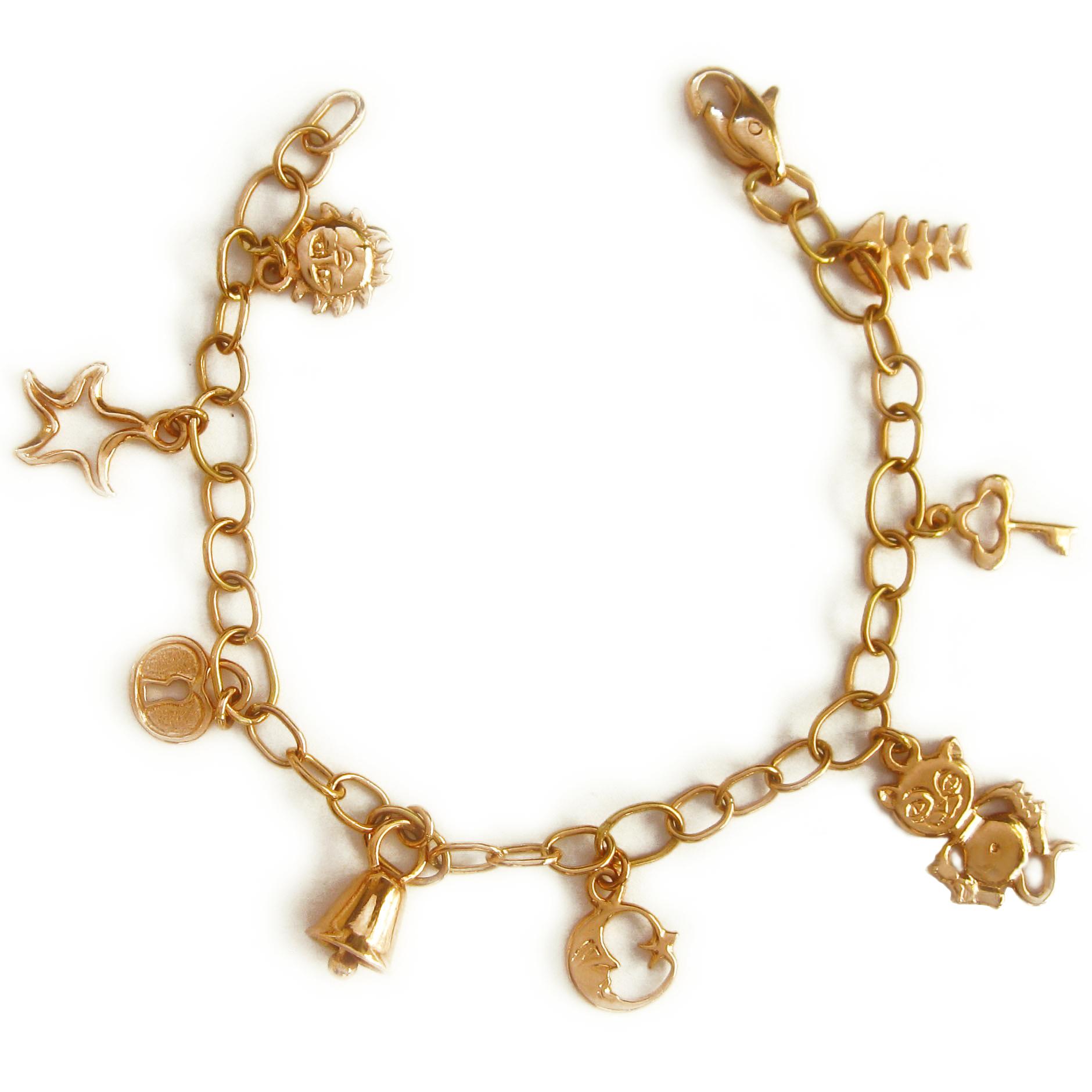 Золотий браслет «Мій талісман» з підвісками