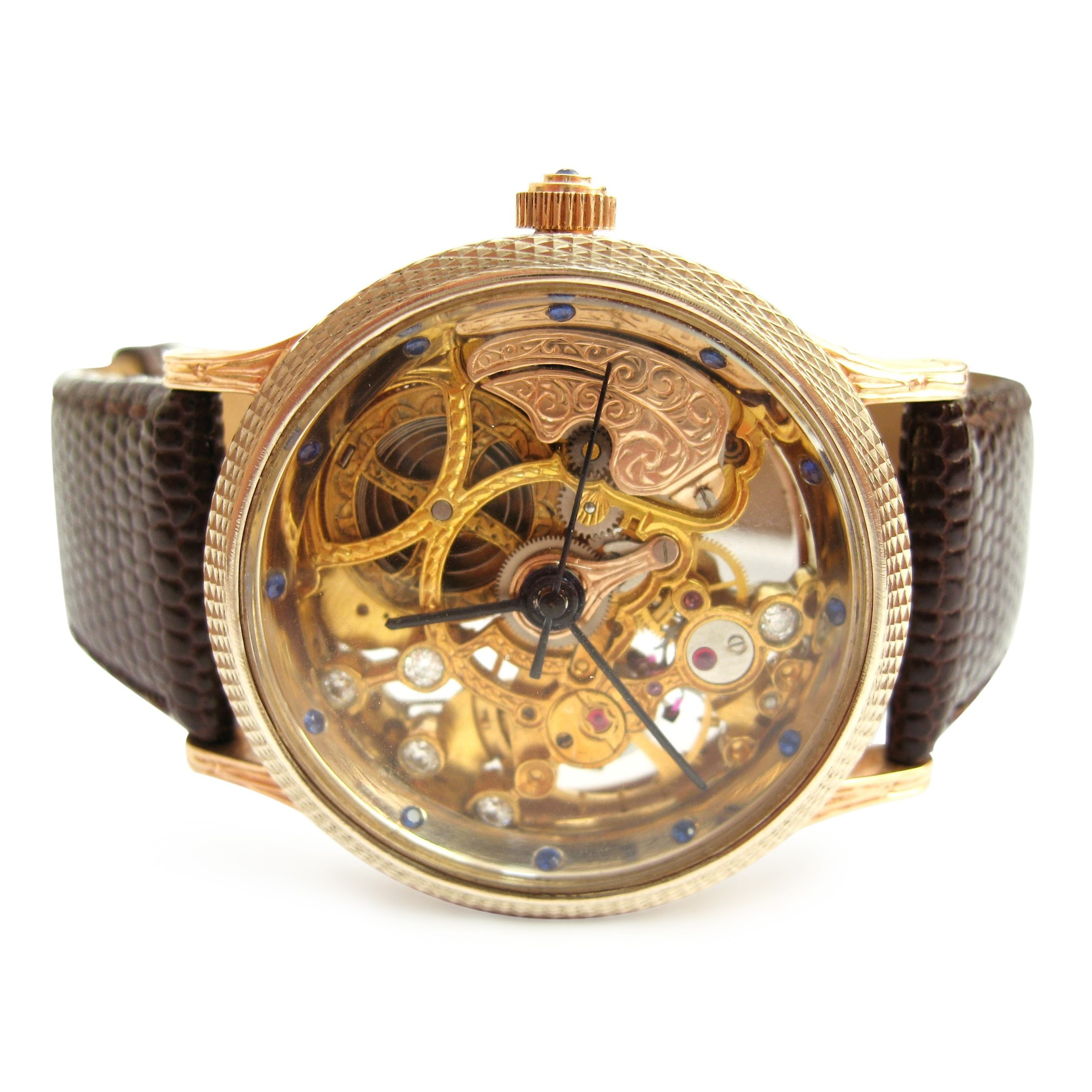 Ексклюзивний золотий чоловічий годинник «Skeleton»