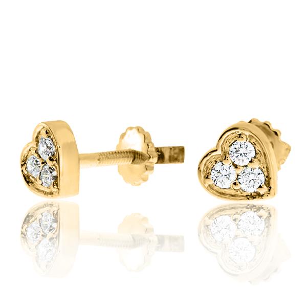 Золотые серьги серце с бриллиантами