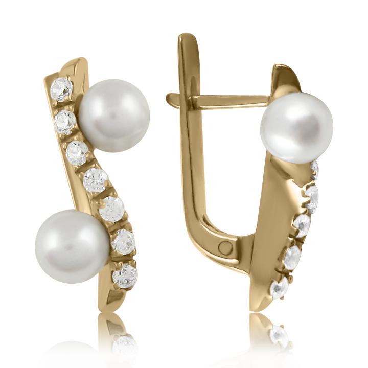 Золоті сережки з перлами «Звуки джазу»
