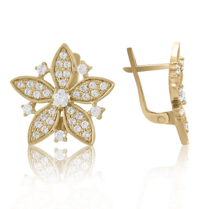 Золотые серьги с фианитами «Дикая орхидея»