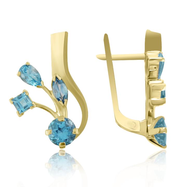 Золоті сережки з топазами «Карнавал»